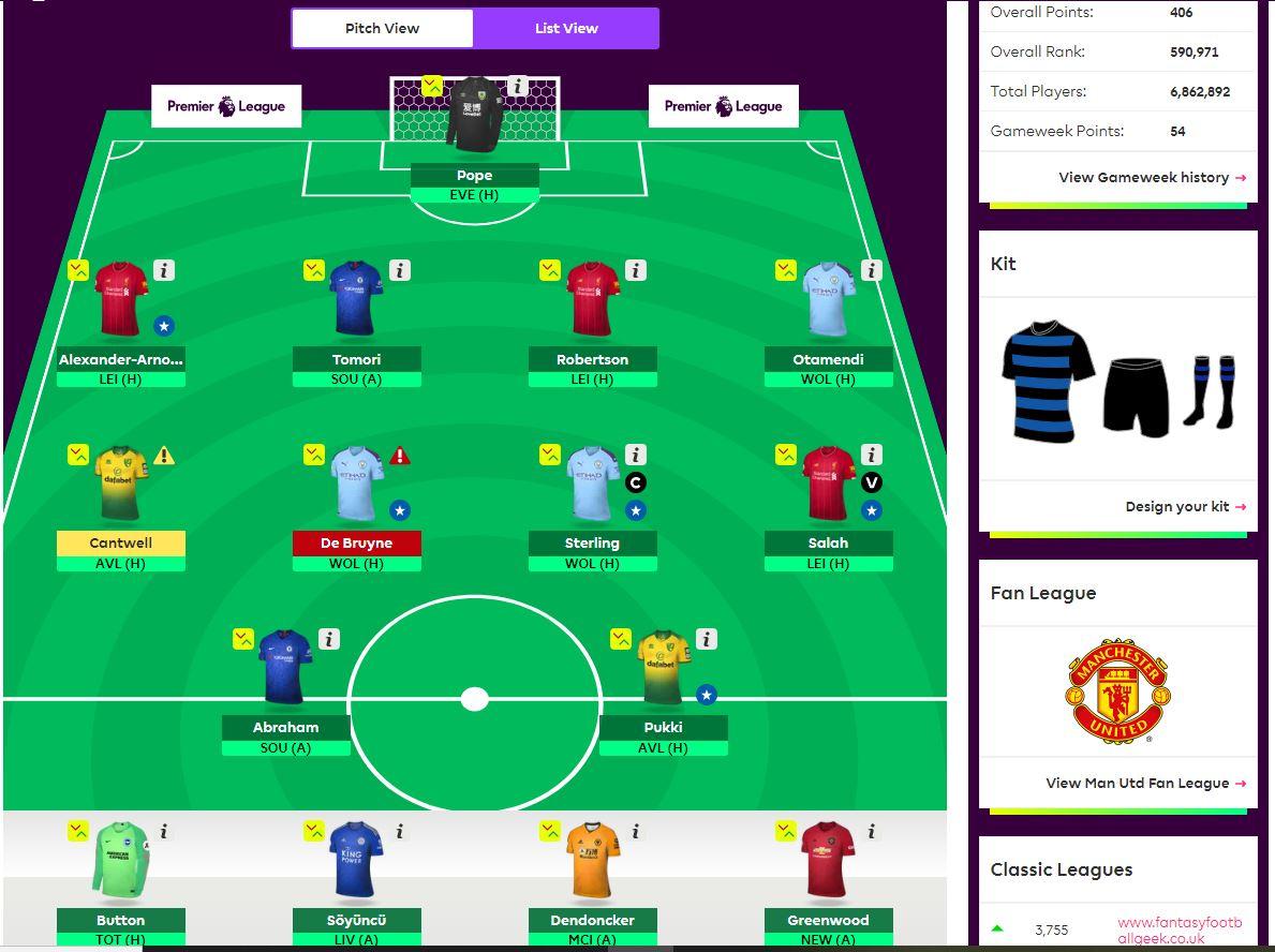 fantasy premier league team selection GW8
