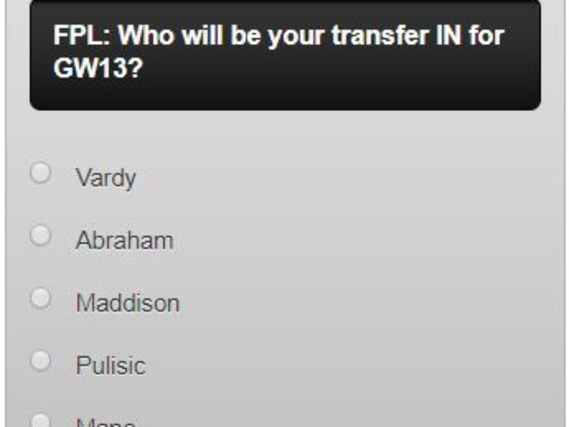 FPL transfers GW13 – A poll for your GW13 transfers in and out