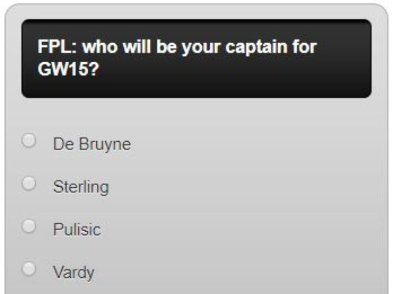 FPL captain poll GW15 – plus a transfer in and out poll