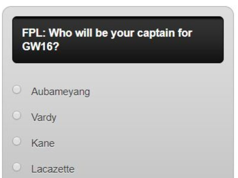 FPL captain poll GW16 – plus a transfer in and out poll