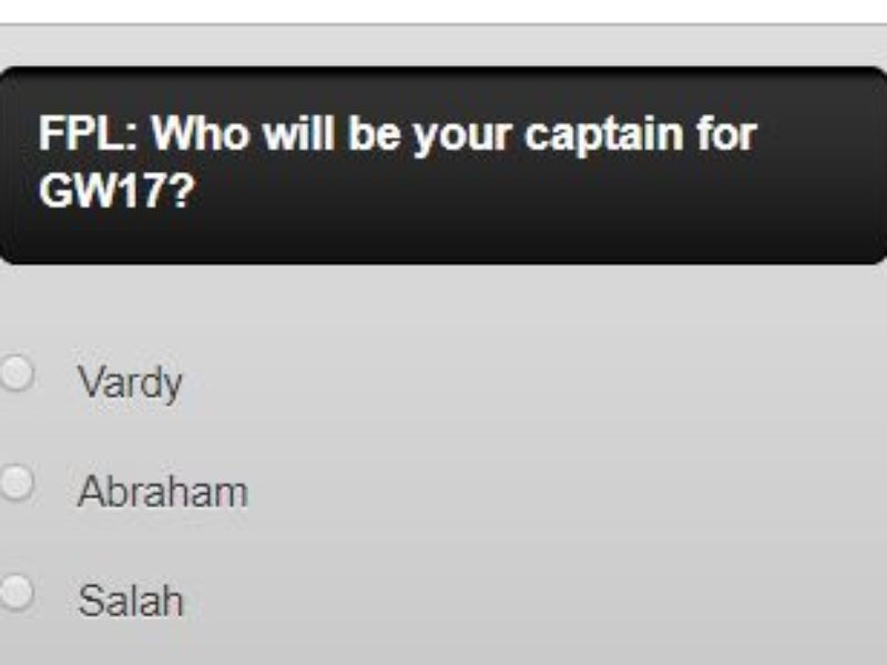 FPL captain poll GW17 – plus a transfer in and out poll