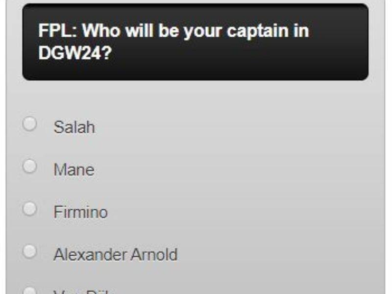 FPL captain poll DGW24 – plus a transfer in and out poll