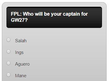 FPL captain poll GW27