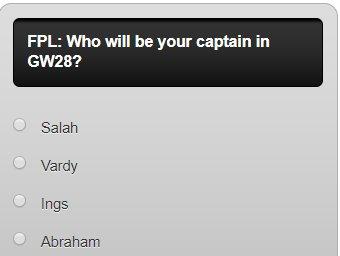fpl captain poll GW28
