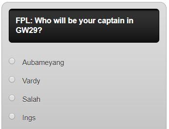FPL captain poll GW29