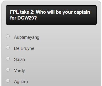 fantasy premier league DGW29 captain poll