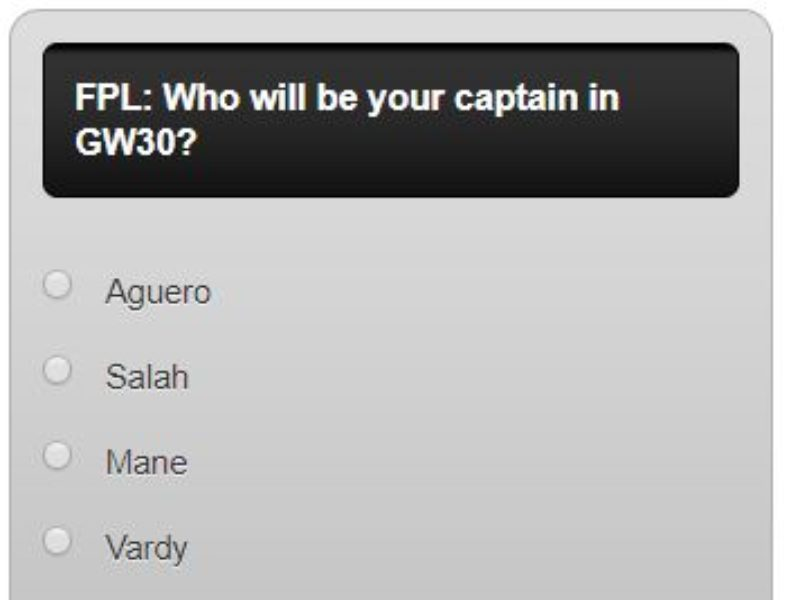 FPL captain poll GW30 – plus a transfer in and out poll