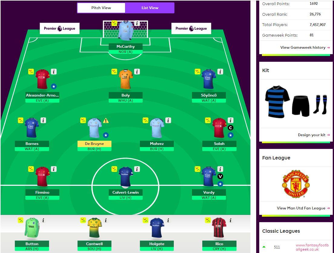 fantasy premier league teams GW30