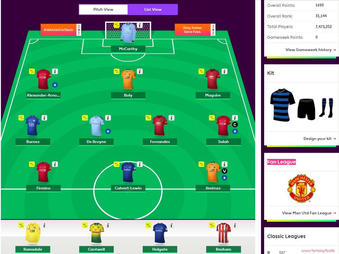 fantasy premier league team selection GW36