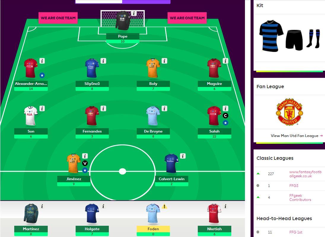 fantasy premier league team selection GW32