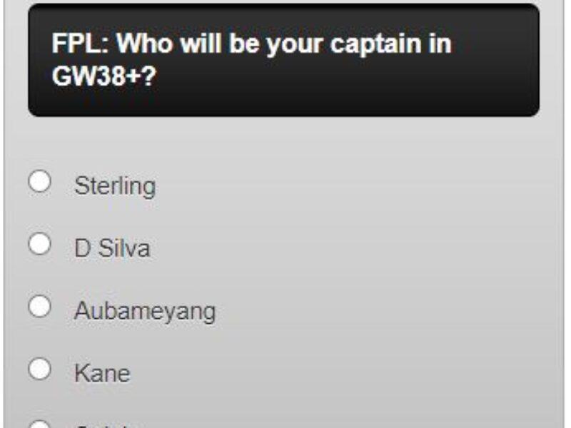 FPL Captain Poll GW38