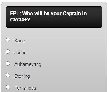 FPL Captain Poll GW34