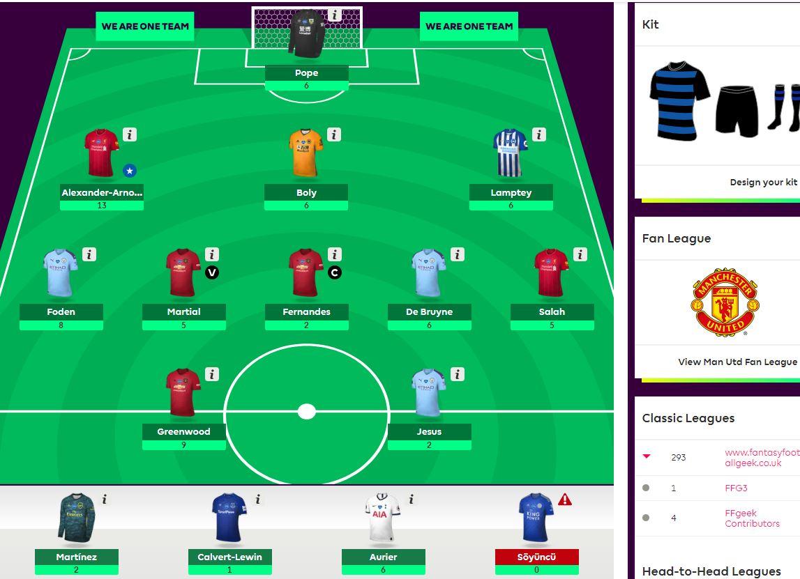 fantasy premier league team selection GW38