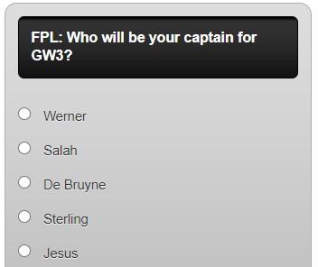 fantasy premier league captain poll GW3