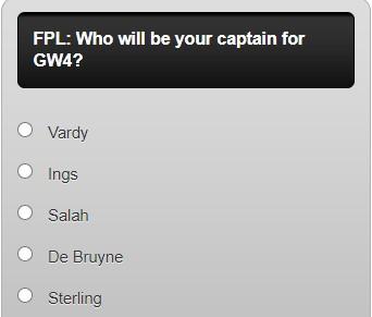 fantasy premier league captain poll GW4