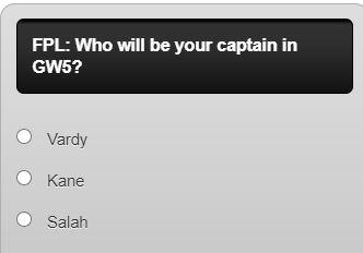 fantasy premier league captain poll GW5