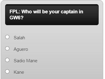 fantasy premier league captain poll GW6