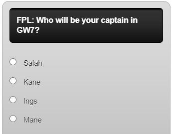 fantasy premier league captain poll GW7
