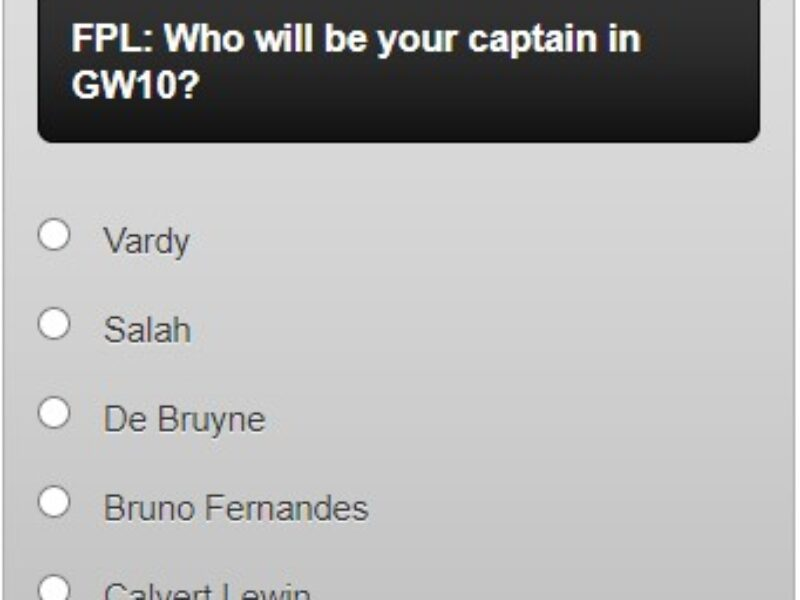 fantasy premier league captain poll GW10 – plus a transfer in and out poll