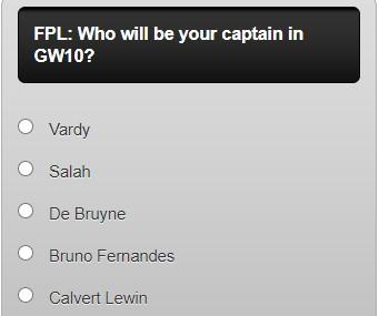 fantasy premier league captain poll GW10