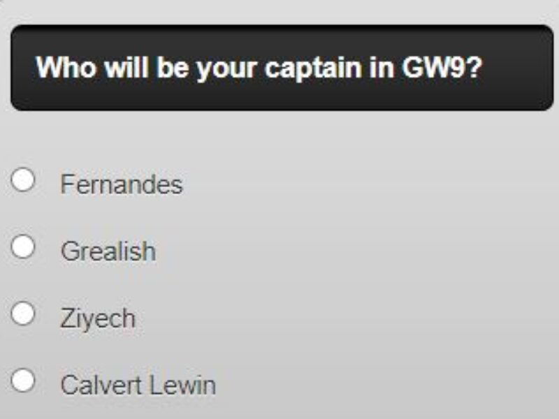 fantasy premier league captain poll GW9 – plus a transfer in and out poll