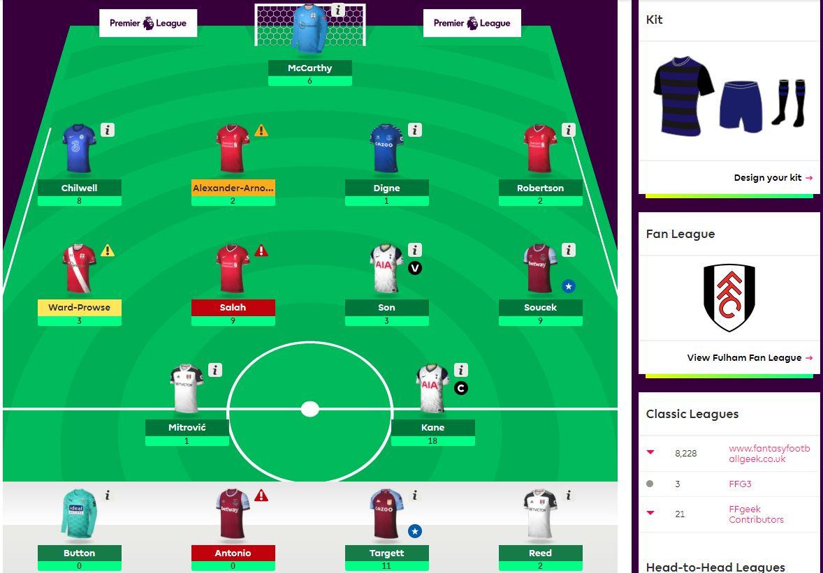 fantasy premier league team selection GW9