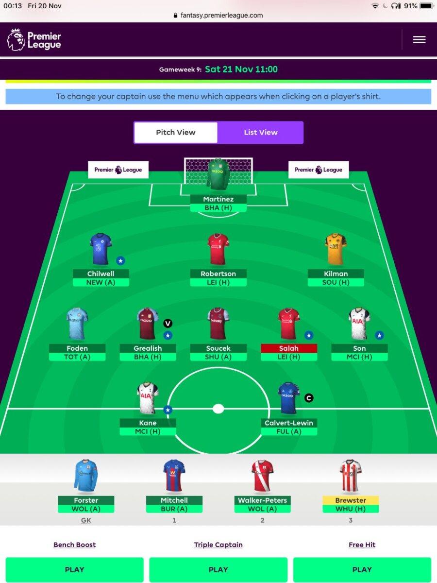 Fantasy Premier League GW9 teams