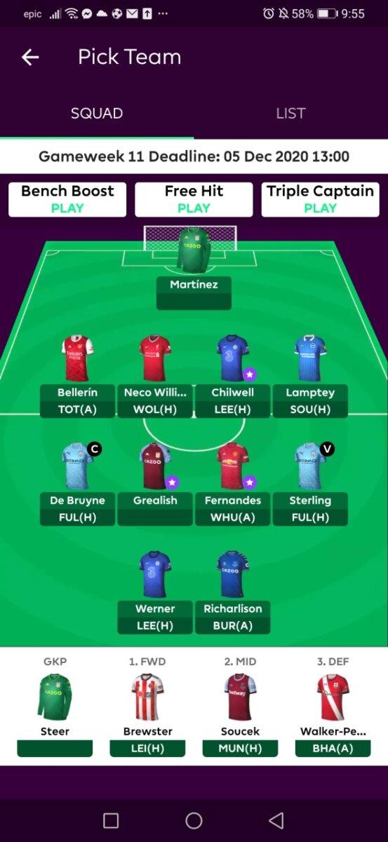 Fantasy Premier League GW11 teams
