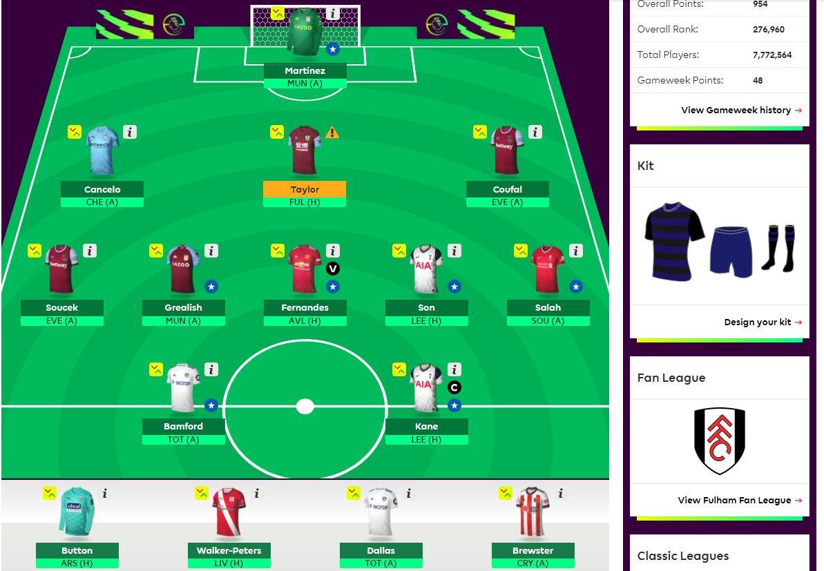 fantasy premier league team selection GW17