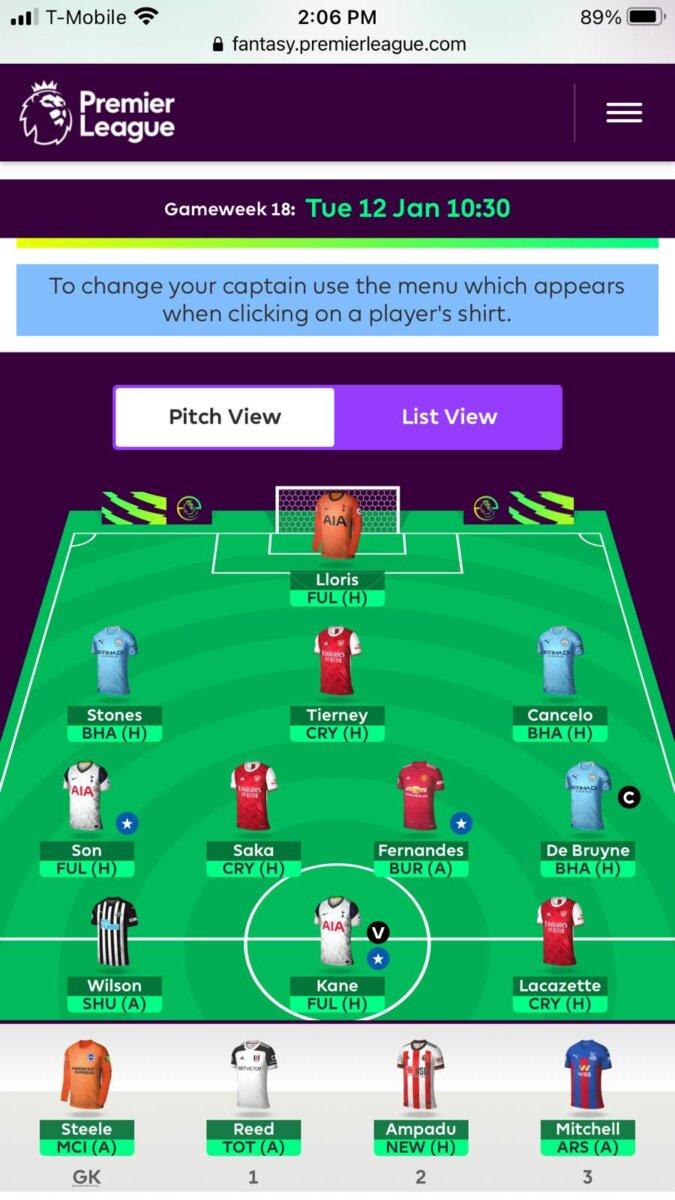 Fantasy Premier League BGW18 teams
