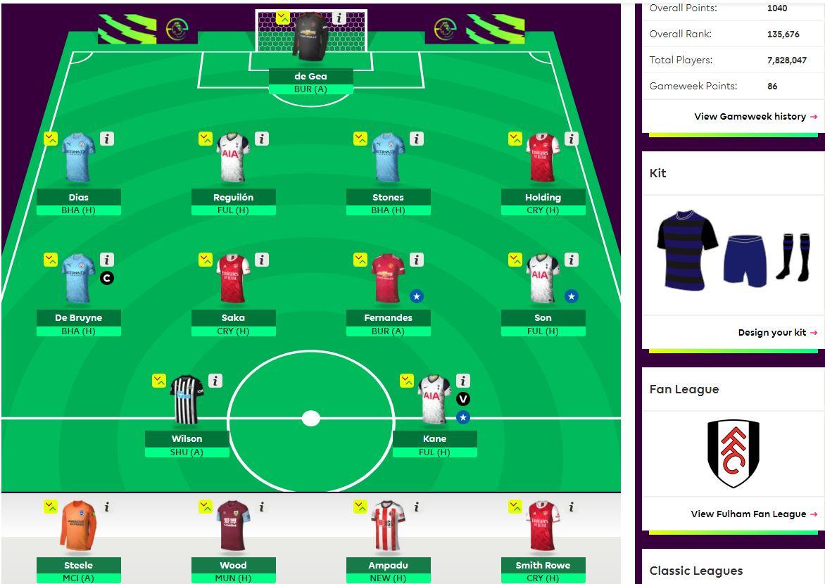 fantasy premier league team selection GW18