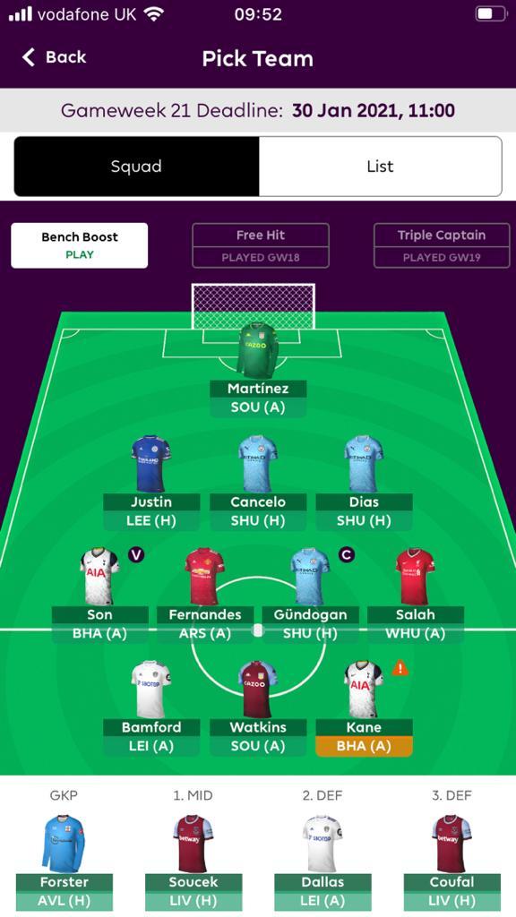 Fantasy Premier League GW21 teams