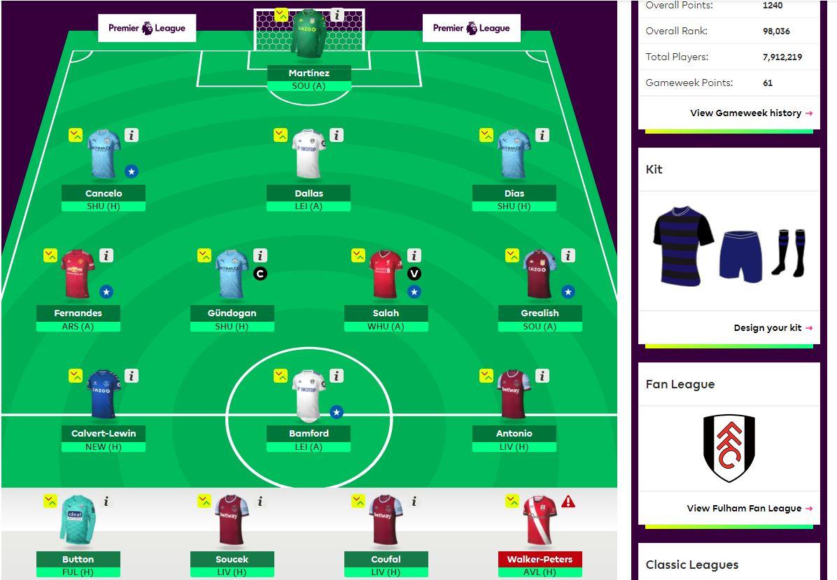 fantasy premier league team selection GW21
