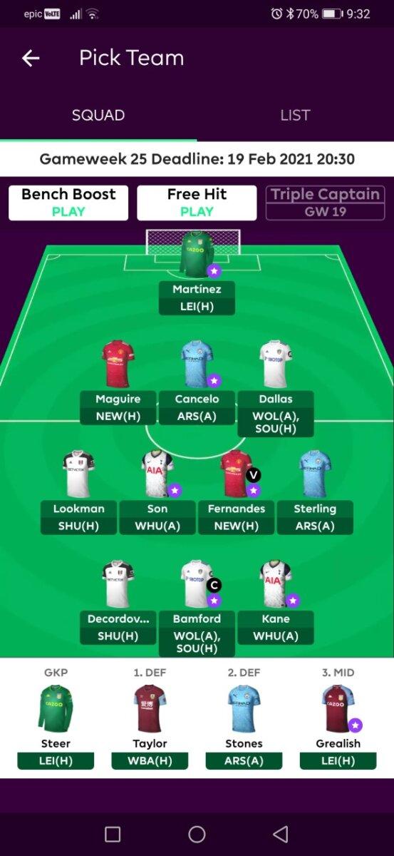 Fantasy Premier League GW25 teams