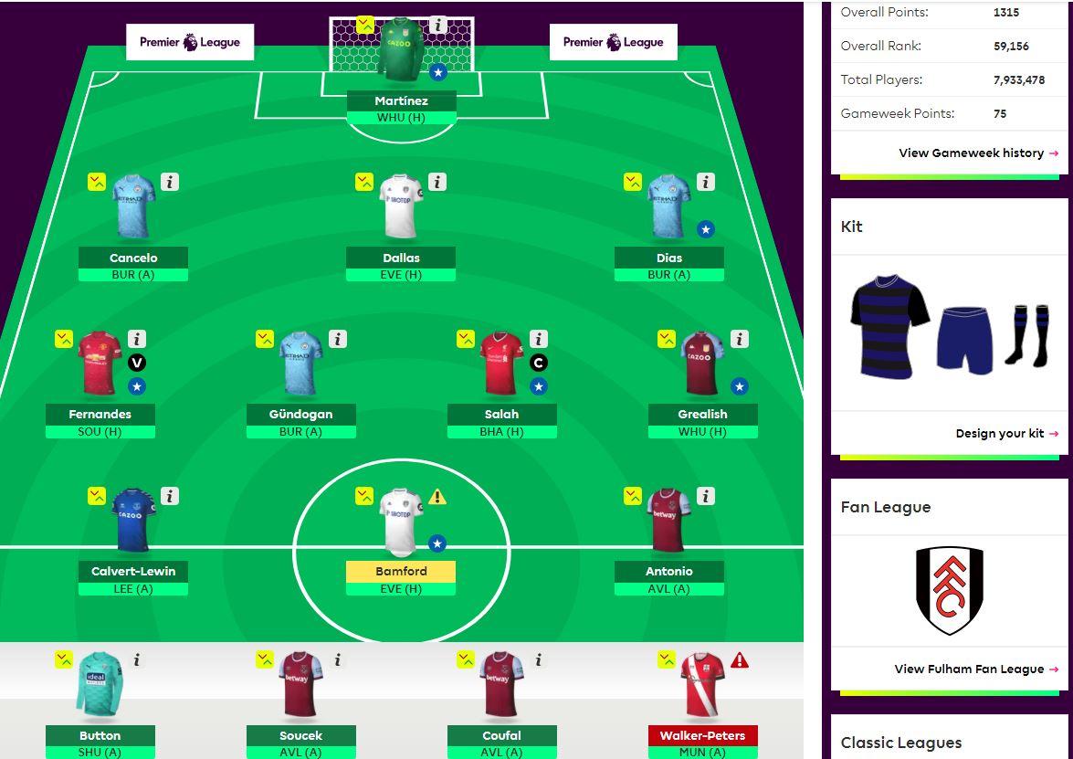 fantasy premier league team selection GW22