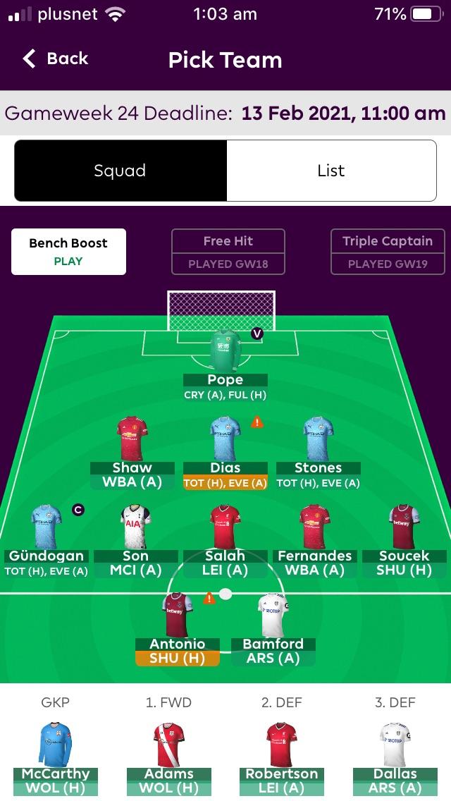 Fantasy Premier League team tips GW24