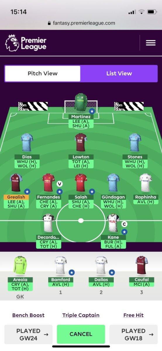 Fantasy Premier League GW26 teams