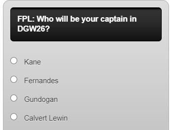 fantasy premier league captain poll DGW26