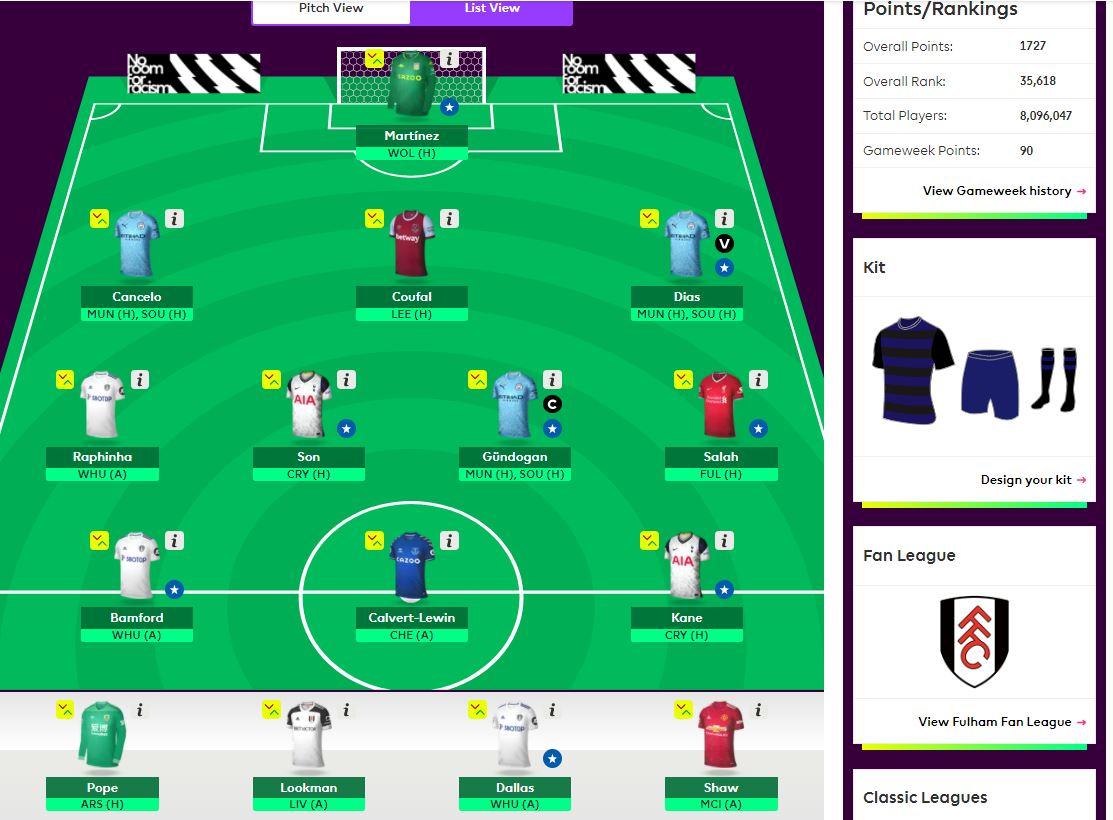 fantasy premier league team selection GW27