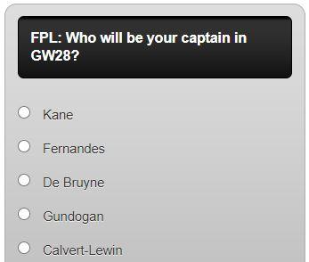fantasy premier league captain poll GW28