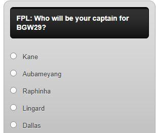 fantasy premier league captain poll G29