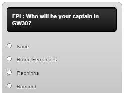 fantasy premier league captain poll GW30