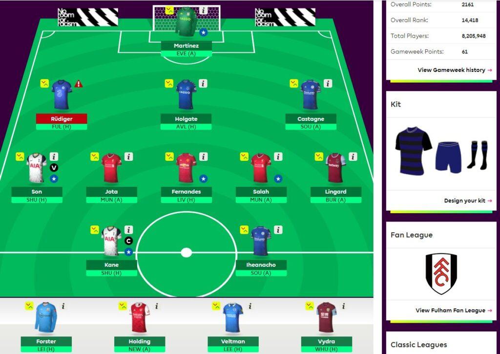 fantasy premier league team selection GW34
