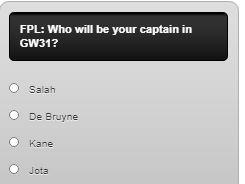 fantasy premier league captain poll GW31