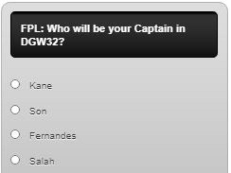 Fantasy Premier League Captain Poll GW32 –  Plus Transfer Polls and a Triple Captain Poll