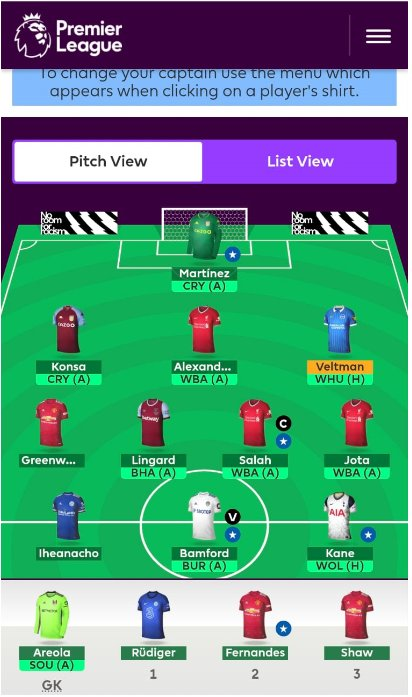 Fantasy Premier League Team Tips GW36