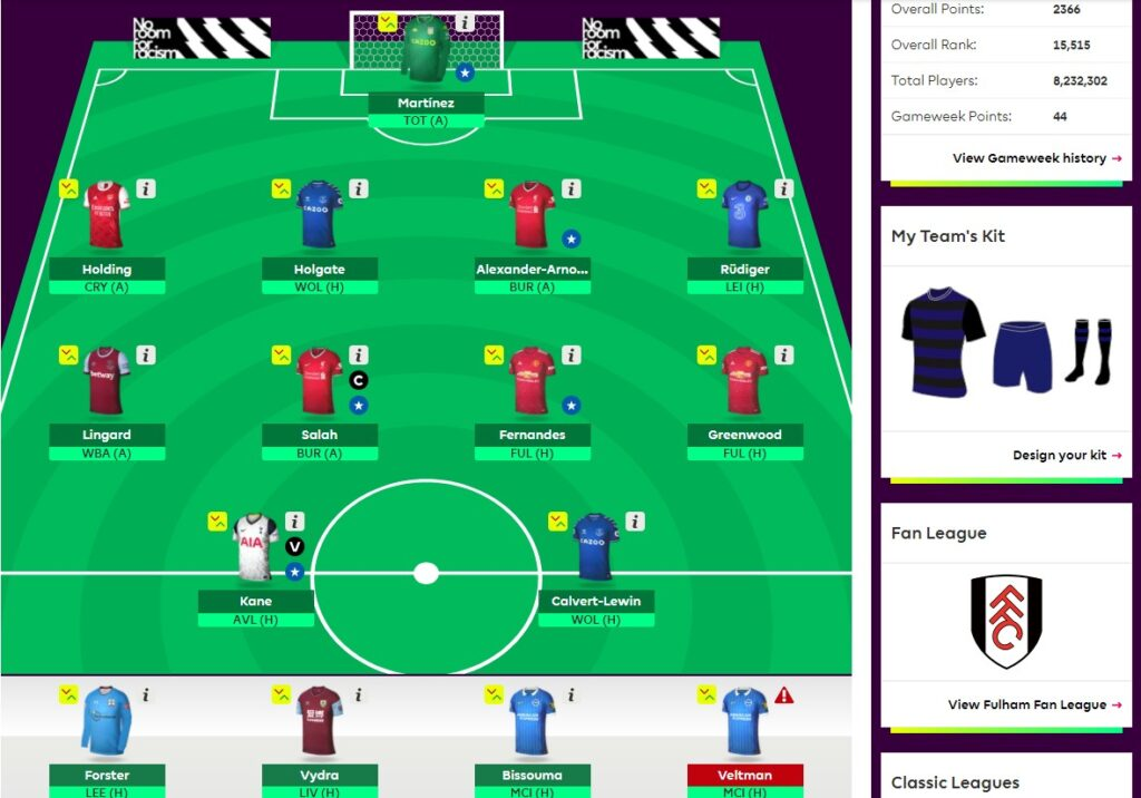 Fantasy Premier League Team Selection GW37