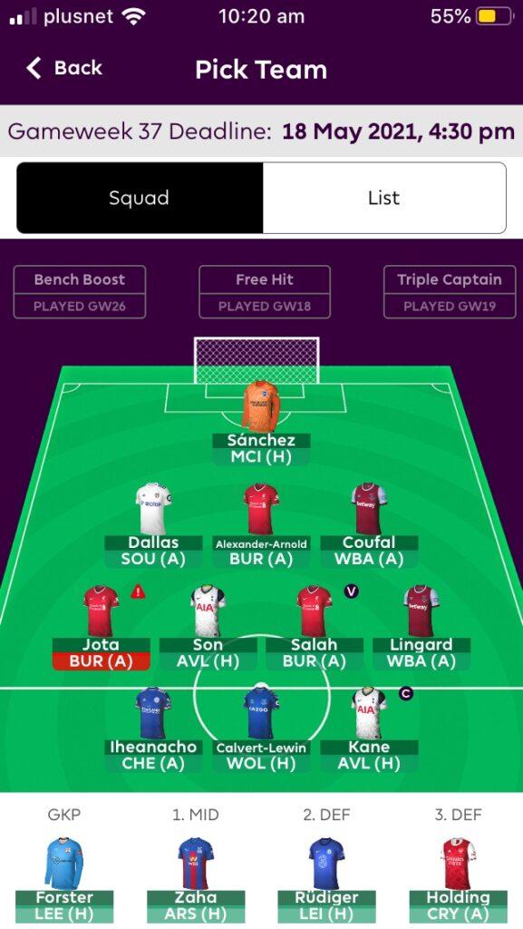 Fantasy Premier League Team Tips GW37